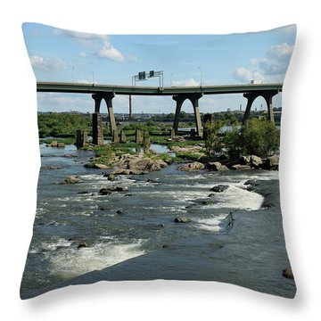 James River Rapids Throw Pillow