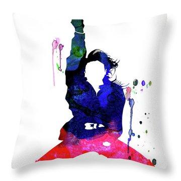 Janet Jackson Watercolor Throw Pillow