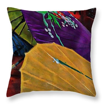 Throw Pillow featuring the photograph Japanese Parasol Harmony by Dorothy Berry-Lound