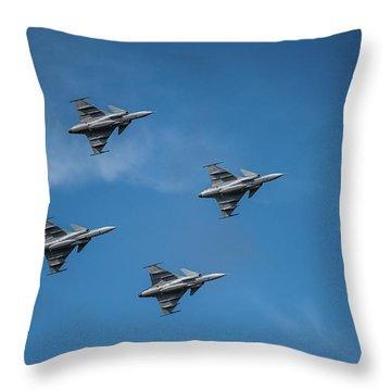 Jas 39 Gripen In A Flyover Show At Uppsala Garnison 08/25/2018 Throw Pillow