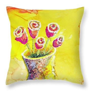 Jaunty Rosebuds Throw Pillow