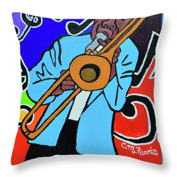 Throw Pillow featuring the painting Jazz It  Up by Christopher Farris