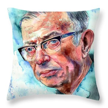 Jean-paul Sartre Portrait Throw Pillow