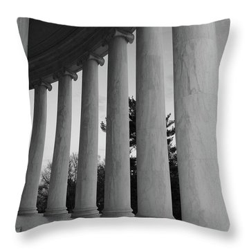 Jefferson Memorial In Black And White Throw Pillow