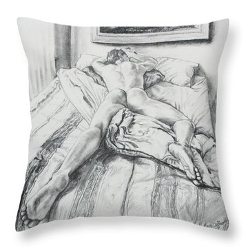 Jeremy On The Bed Throw Pillow