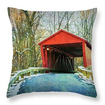 Jericho Covered Bridge Textures Throw Pillow
