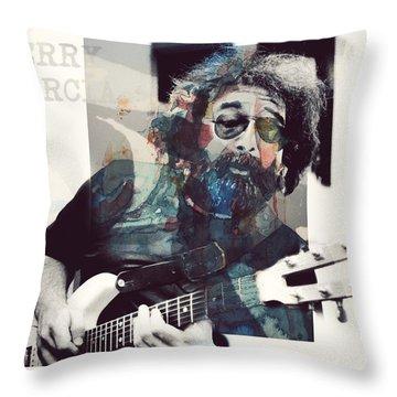 Jerry Garcia - Retro  Throw Pillow