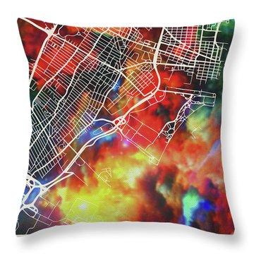 Jersey City New Jersey Watercolor City Street Map Throw Pillow