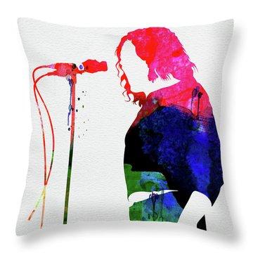 Joe Cocker Watercolor Throw Pillow
