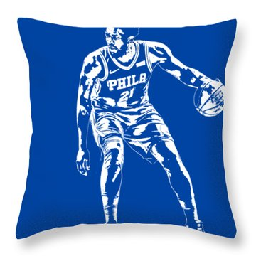 Joel Embiid Philadelphia 76ers T Shirt Apparel Pixel Art 2 Throw Pillow