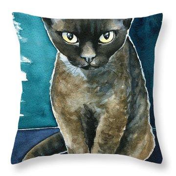 Joey - Devon Rex Cat Painting Throw Pillow