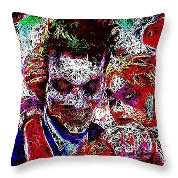 Throw Pillow featuring the mixed media Joker And Harley Quinn 2 by Al Matra