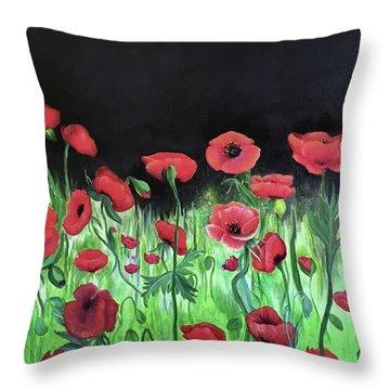 Jon's Poppies Throw Pillow