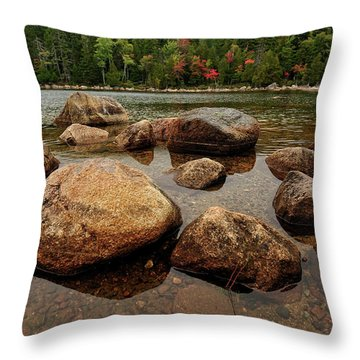 Jordon Pond Boulders Throw Pillow