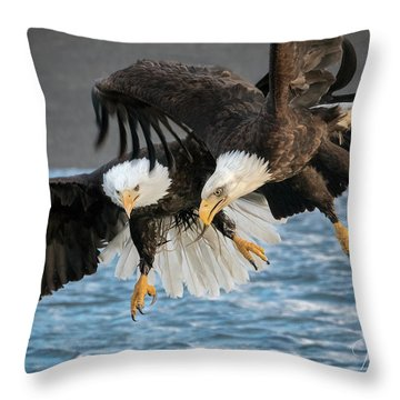 Jousting Eagles Throw Pillow