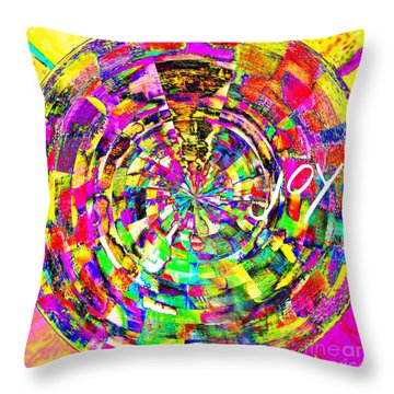 Throw Pillow featuring the mixed media Joy by Jessica Eli