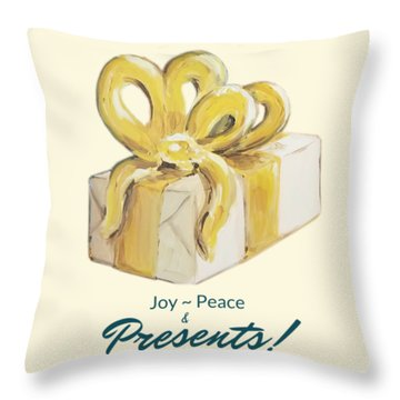 Joy, Peace And Presents Throw Pillow