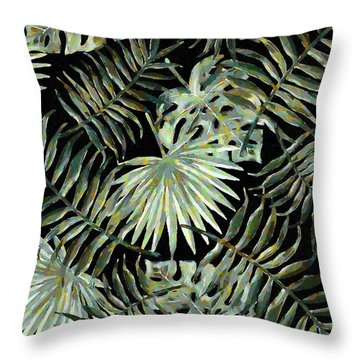 Jungle Dark Tropical Leaves Throw Pillow