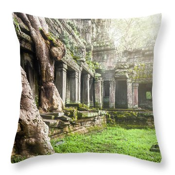 Throw Pillow featuring the photograph Jungle Temple 1 by Nicole Young