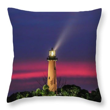Throw Pillow featuring the photograph Jupiter Light Beam by Tom Claud