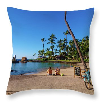 Kamakahonu Beach Throw Pillow