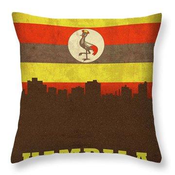 Kampala Uganda World City Flag Skyline Throw Pillow