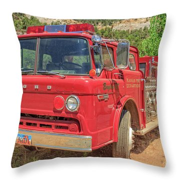 Kanab Fire Department Ford Engine Throw Pillow