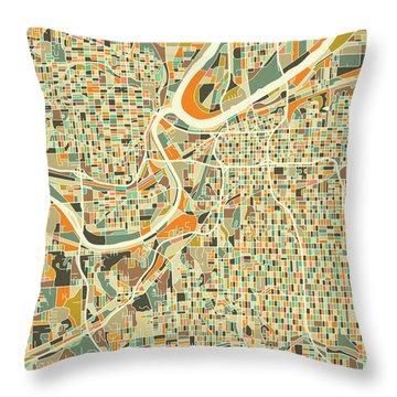 Kansas City Map 1 Throw Pillow