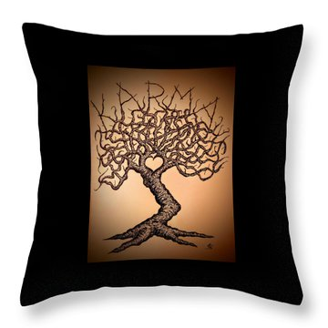 Throw Pillow featuring the drawing Karma Love Tree by Aaron Bombalicki