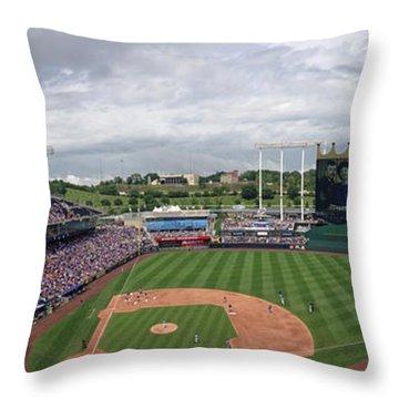 Kauffman Stadium Crowded Throw Pillow