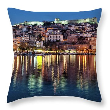 Kavala Town At Night Throw Pillow