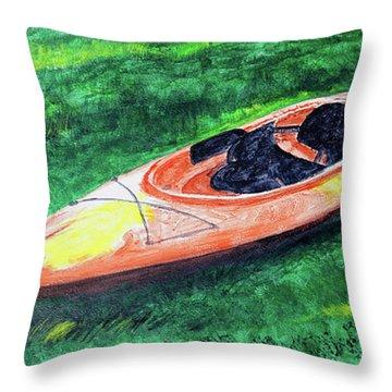 Kayak In The Grass Throw Pillow