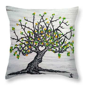 Throw Pillow featuring the drawing Kayaker Love Tree Art by Aaron Bombalicki
