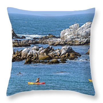 Kayakers Experience Bird Rock At Pacific Grove Throw Pillow