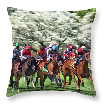 Keeneland Down The Stretch Throw Pillow