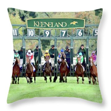 Keeneland Starting Gate Throw Pillow