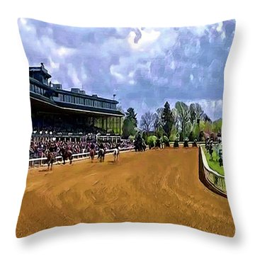 Keeneland The Stretch Throw Pillow
