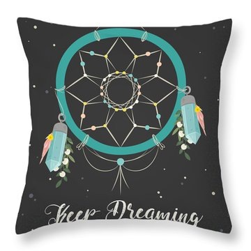 Keep Dreaming - Boho Chic Ethnic Nursery Art Poster Print Throw Pillow
