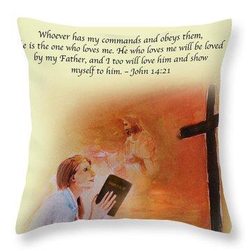 Keeps My Commandments Throw Pillow