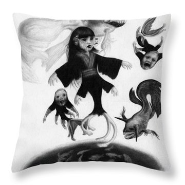 Keiko Among The Koi - Artwork Throw Pillow