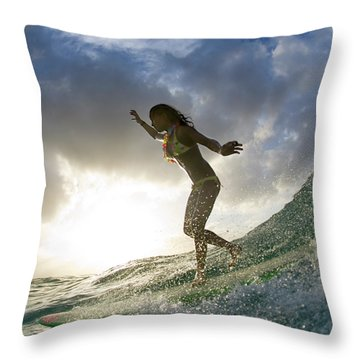 Sunset Surfer Girl - Square Format Throw Pillow