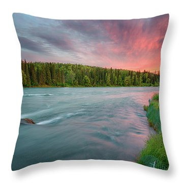 Kenai River Alaska Sunset Throw Pillow