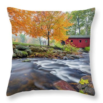 Throw Pillow featuring the photograph Kent Falls Autumn 2018 by Bill Wakeley