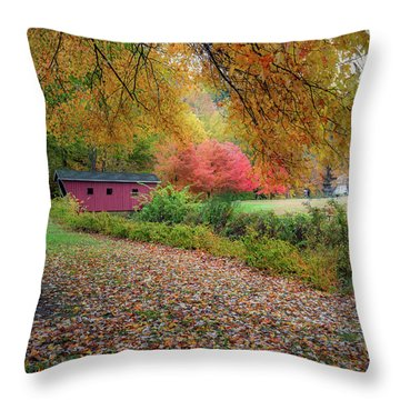 Throw Pillow featuring the photograph Kent Falls Covered Bridge by Bill Wakeley