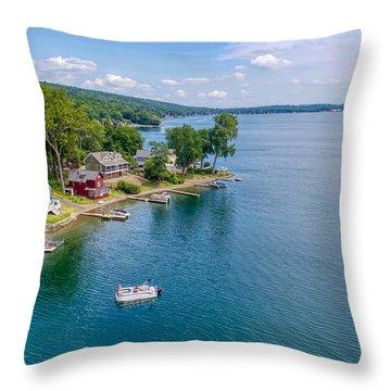 Keuka Boat Day Throw Pillow