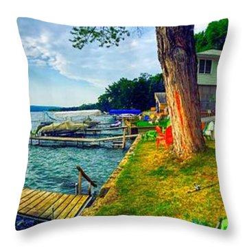 Keuka Lake Mornings Panorama Throw Pillow