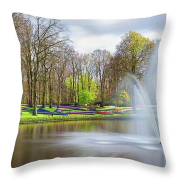 Keukenhof Tulip Garden Holland Throw Pillow