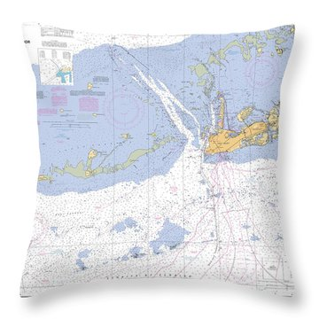Key West Harbor And Approaches, Noaa Chart 11441 Throw Pillow
