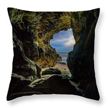 Keyhole Cave In Malibu Throw Pillow