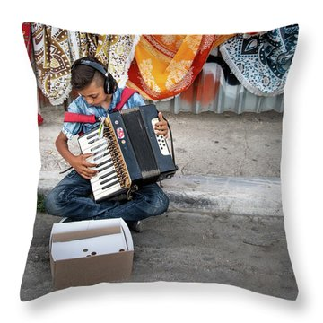 Kid Playing Accordeon Throw Pillow